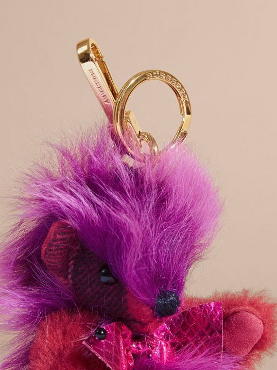 Thomas Bear Pom-Pom Charm in Check Cashmere in Fuchsia Pink - cell image 2