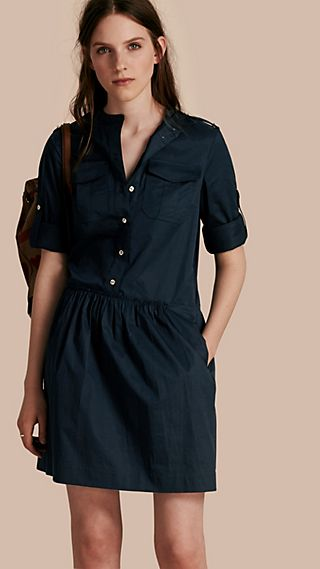 Military-inspired Cotton Blend Shirt Dress