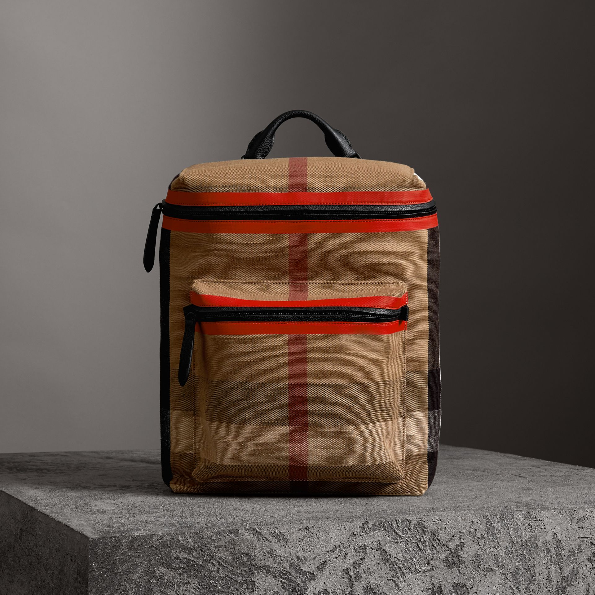 Zip-top Leather Trim Canvas Check Backpack in Military Red/camel - Men | Burberry Canada - gallery image 0