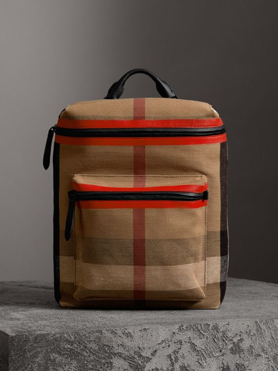 Zip-top Leather Trim Canvas Check Backpack in Military Red/camel