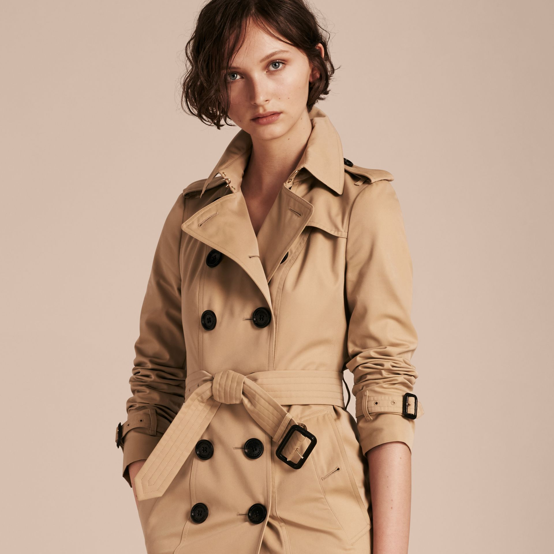 Honey Trench Coat with Check and Heart Lining - gallery image 7