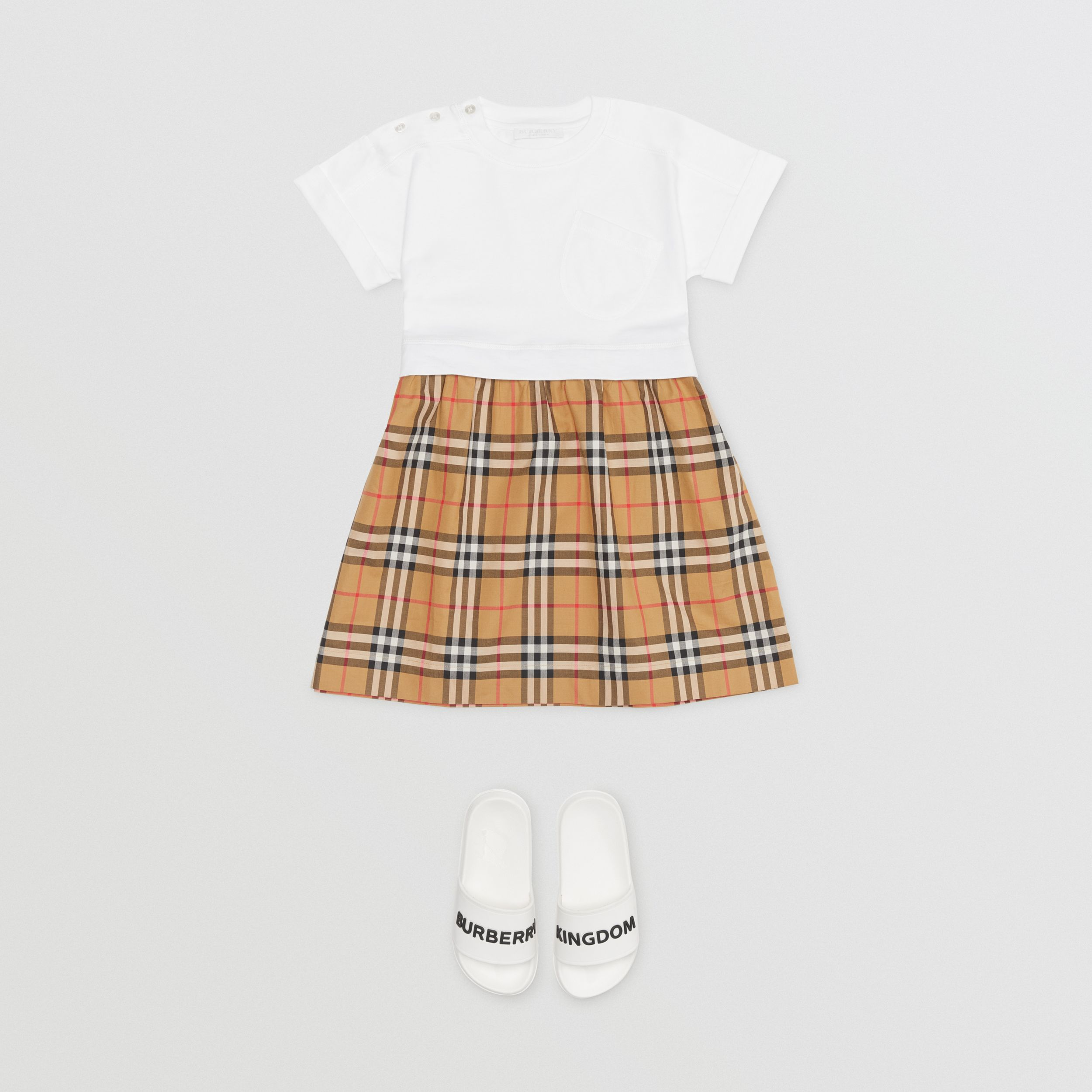 Vintage Check Cotton Dress in White | Burberry - 3