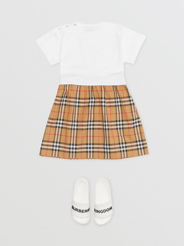 Vintage Check Cotton Dress in White | Burberry Australia - cell image 2