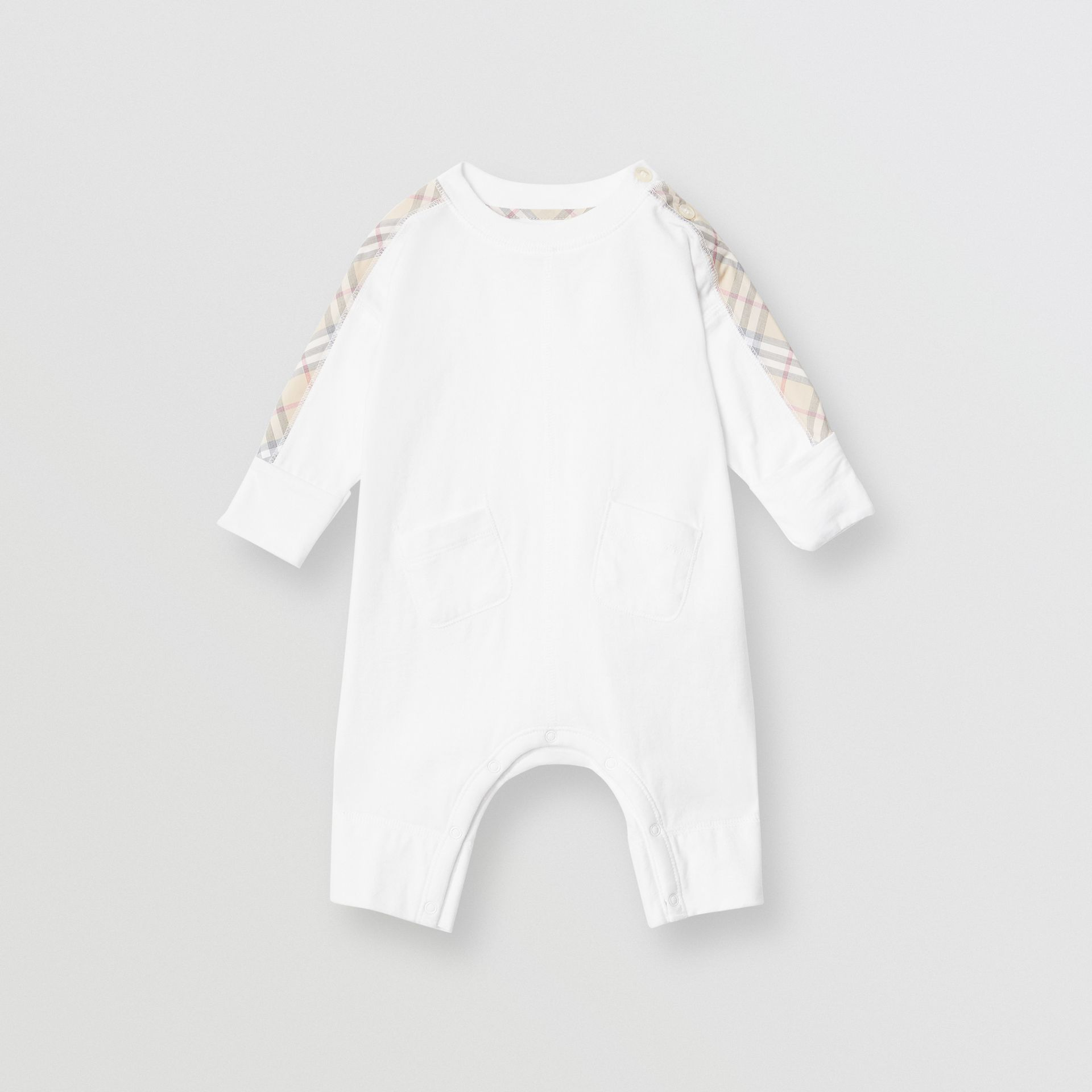 Check Cotton Three-piece Baby Gift Set in White - Children | Burberry United States - gallery image 2
