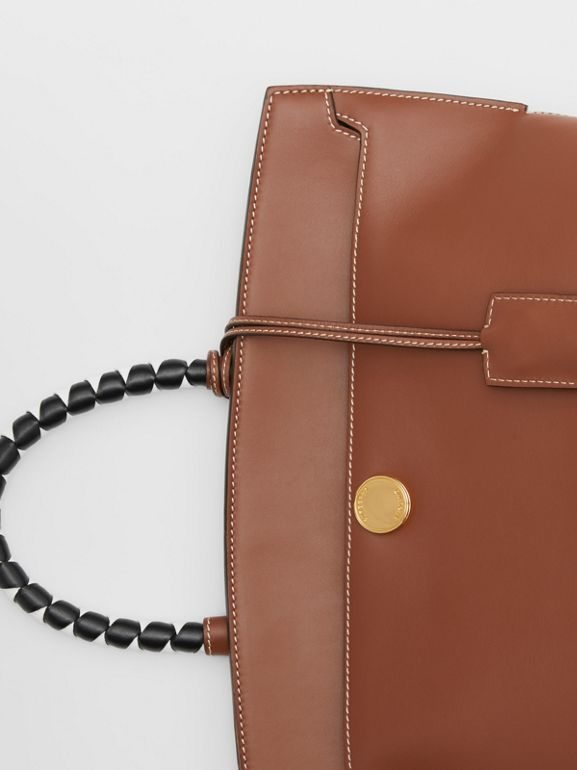 Small Leather Society Top Handle Bag in Tan - Women | Burberry - cell image 1