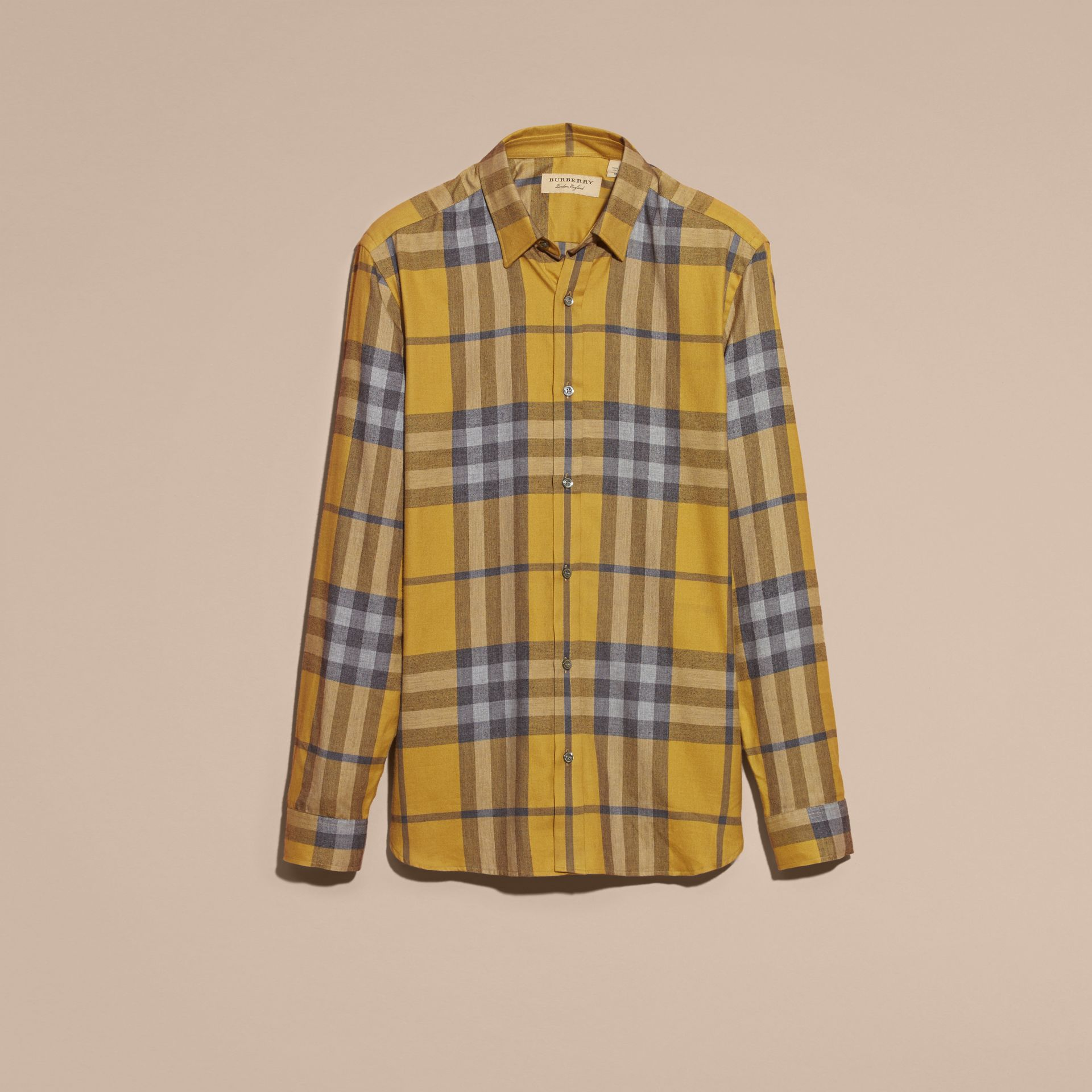 Larch yellow Check Cotton Cashmere Flannel Shirt Larch Yellow - gallery image 4