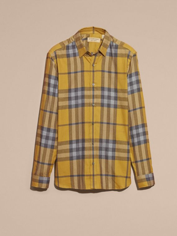 Check Cotton Cashmere Flannel Shirt in Larch Yellow - cell image 3