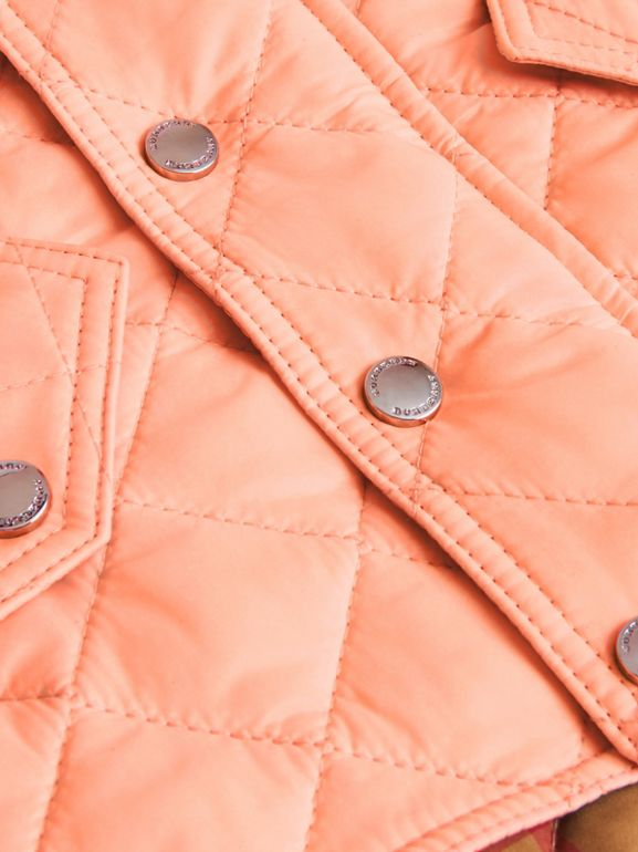 Diamond Quilted Hooded Jacket in Apricot Pink - Children | Burberry - cell image 1