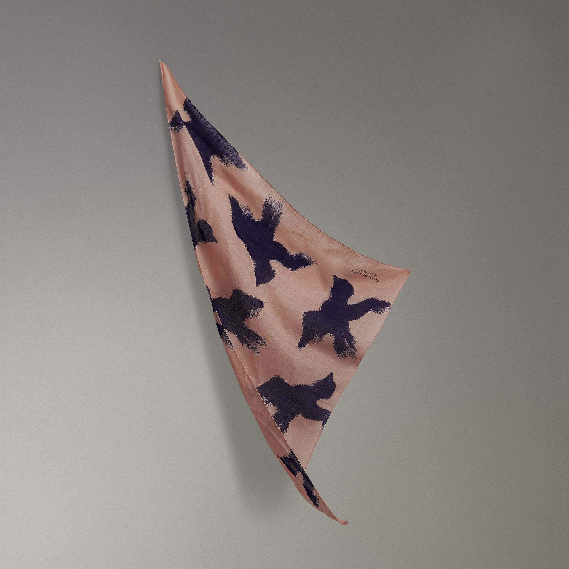 Bird Print Cotton Scarf in Apricot Pink | Burberry - gallery image 0
