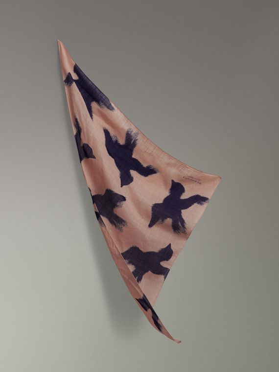Bird Print Cotton Scarf in Apricot Pink