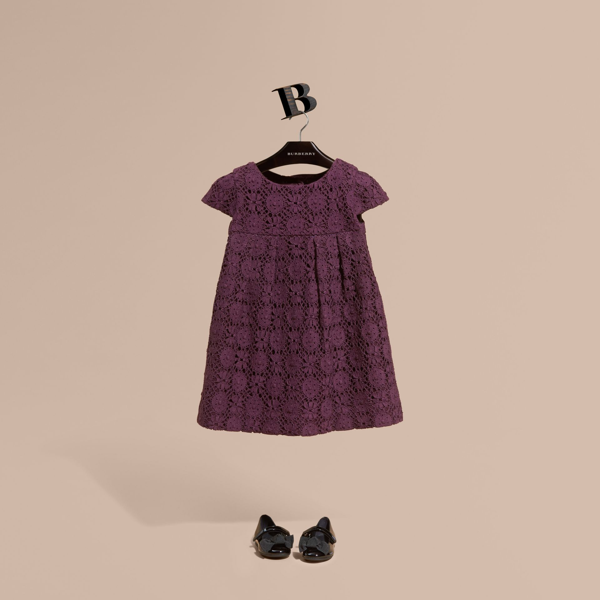 Beetroot English Lace A-line Dress Beetroot - gallery image 1