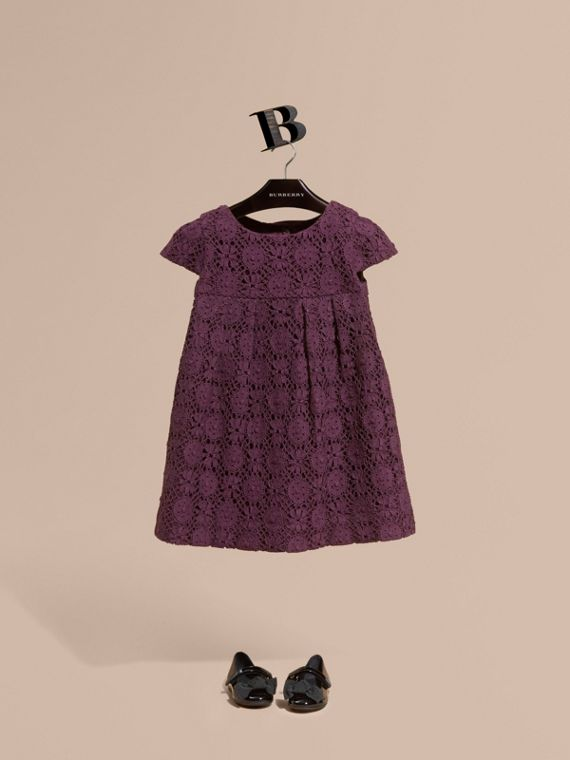 English Lace A-line Dress in Beetroot
