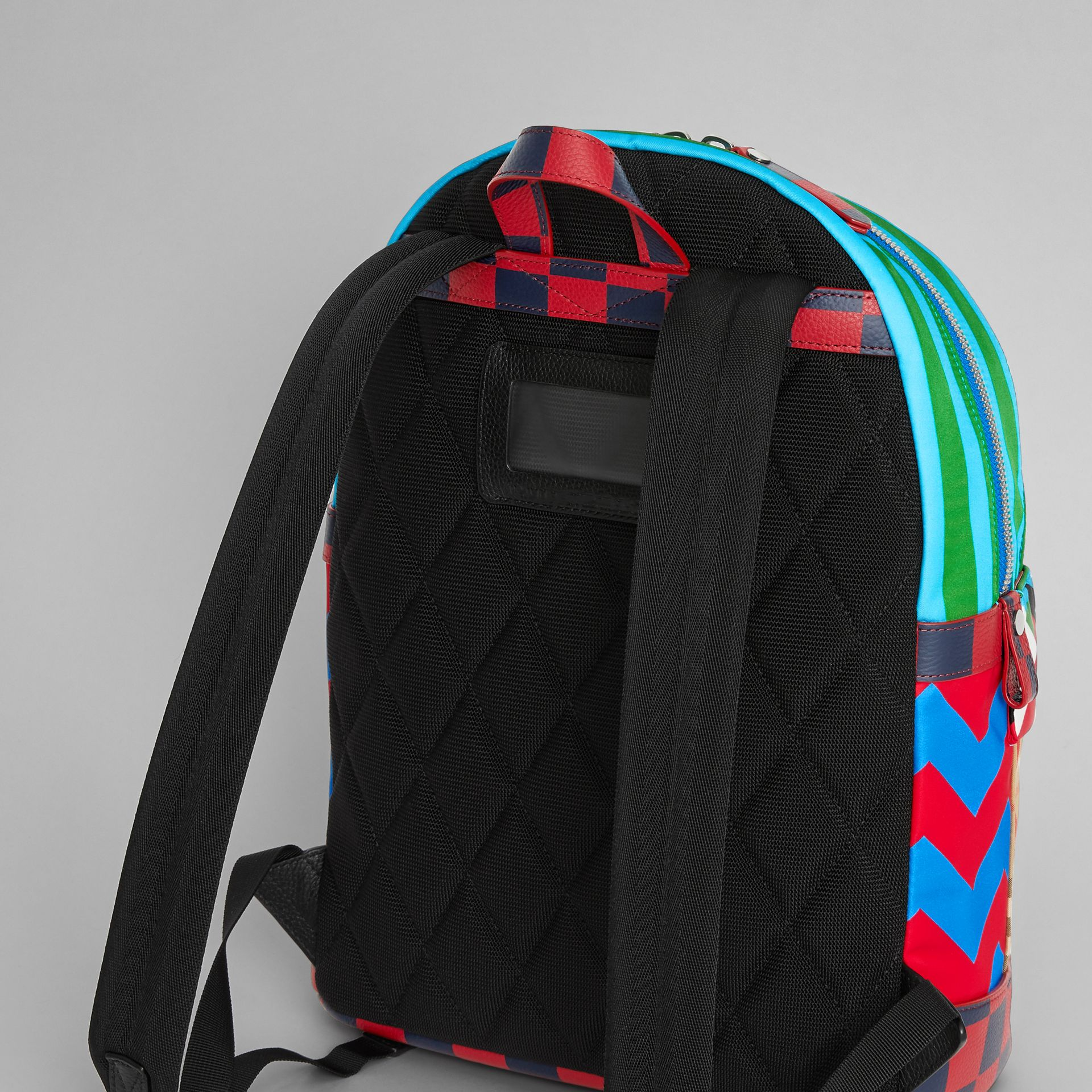 Graphic Print Nylon Backpack in Mineral Blue | Burberry - gallery image 2