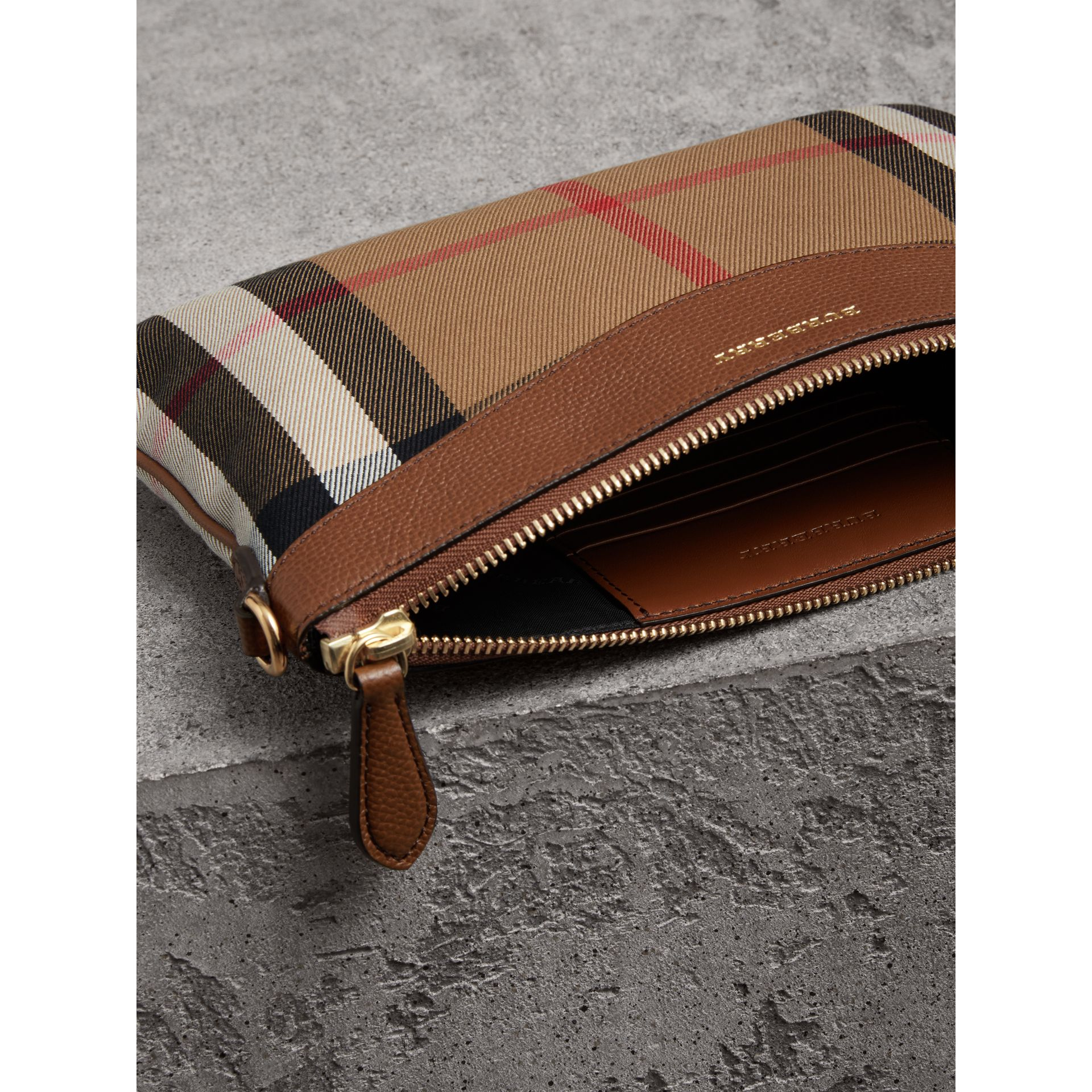 House Check and Leather Clutch Bag in Tan - Women | Burberry Singapore - gallery image 4