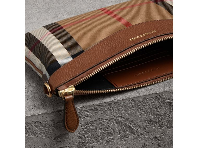 House Check and Leather Clutch Bag in Tan - Women | Burberry Singapore - cell image 4