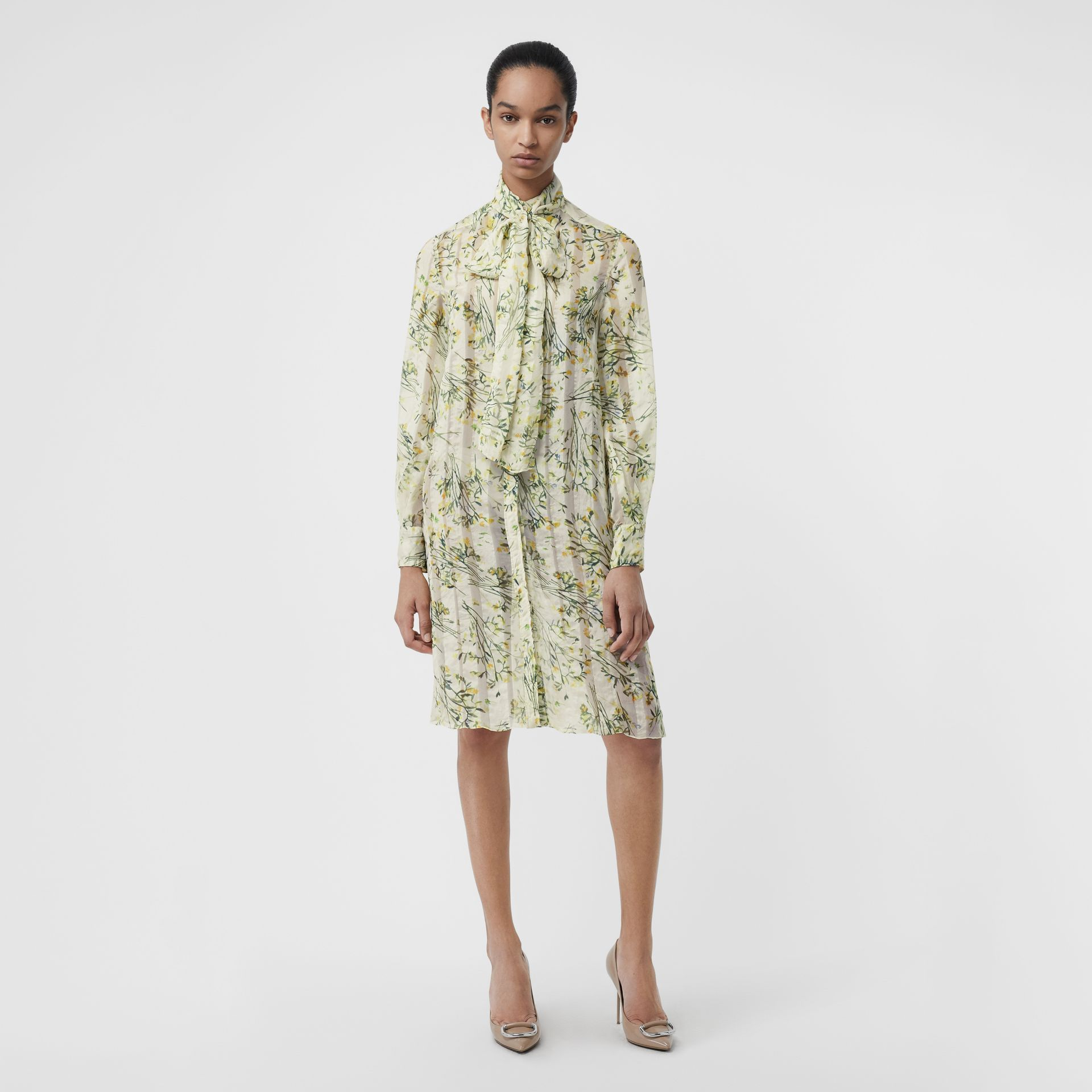 Floral Print Organza Tie-neck Shirt Dress in Lawn Green - Women | Burberry Singapore - gallery image 0