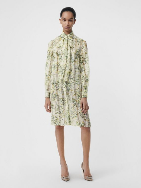 Floral Print Organza Tie-neck Shirt Dress in Lawn Green
