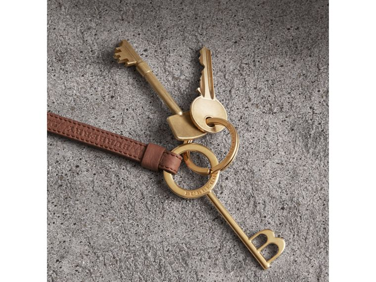 Burberry Motif Metal and Leather Strap Key Charm in Chestnut Brown | Burberry - cell image 1