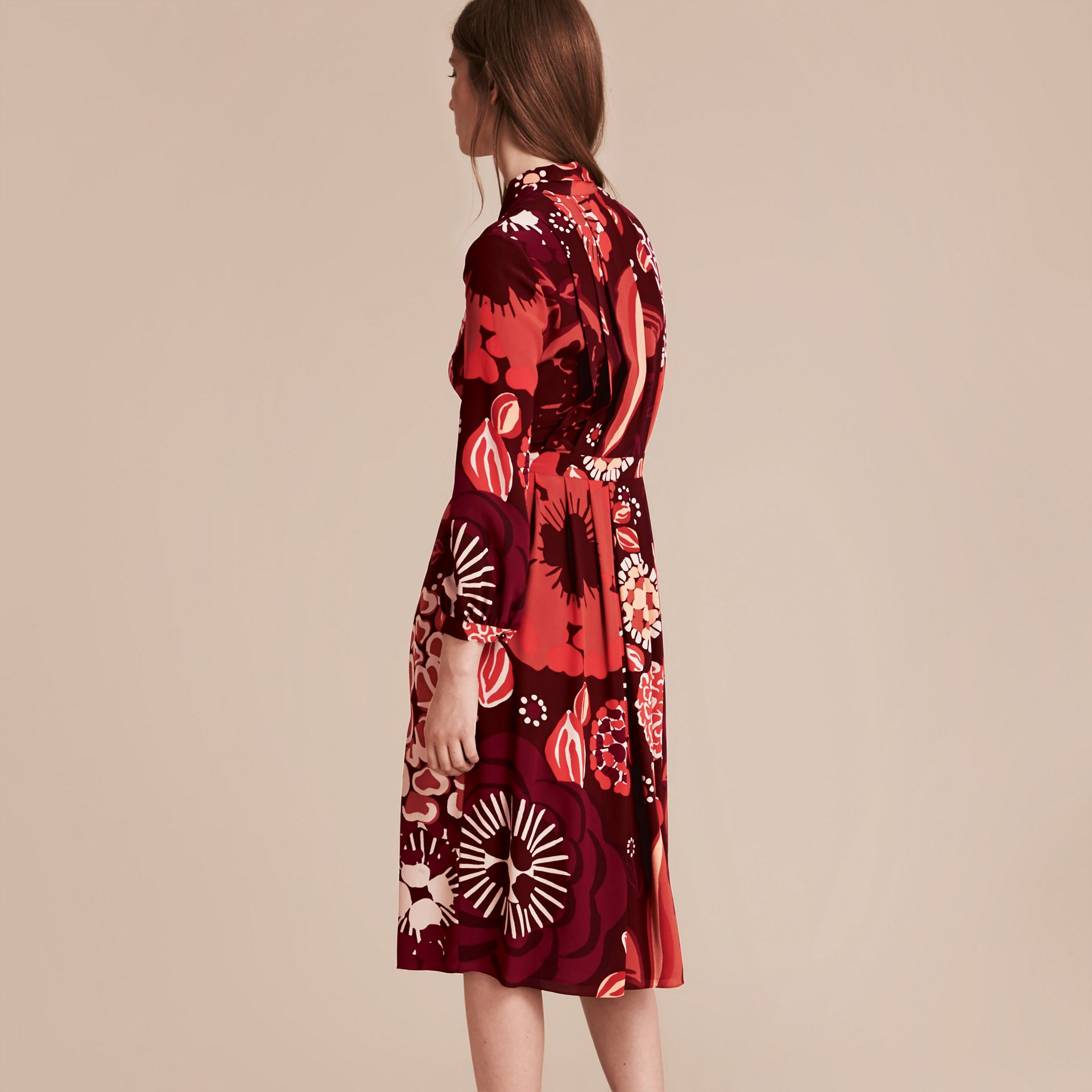 Deep burgundy Floral Print Silk Dress - gallery image 5