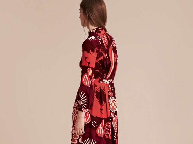 Deep burgundy Floral Print Silk Dress - cell image 4