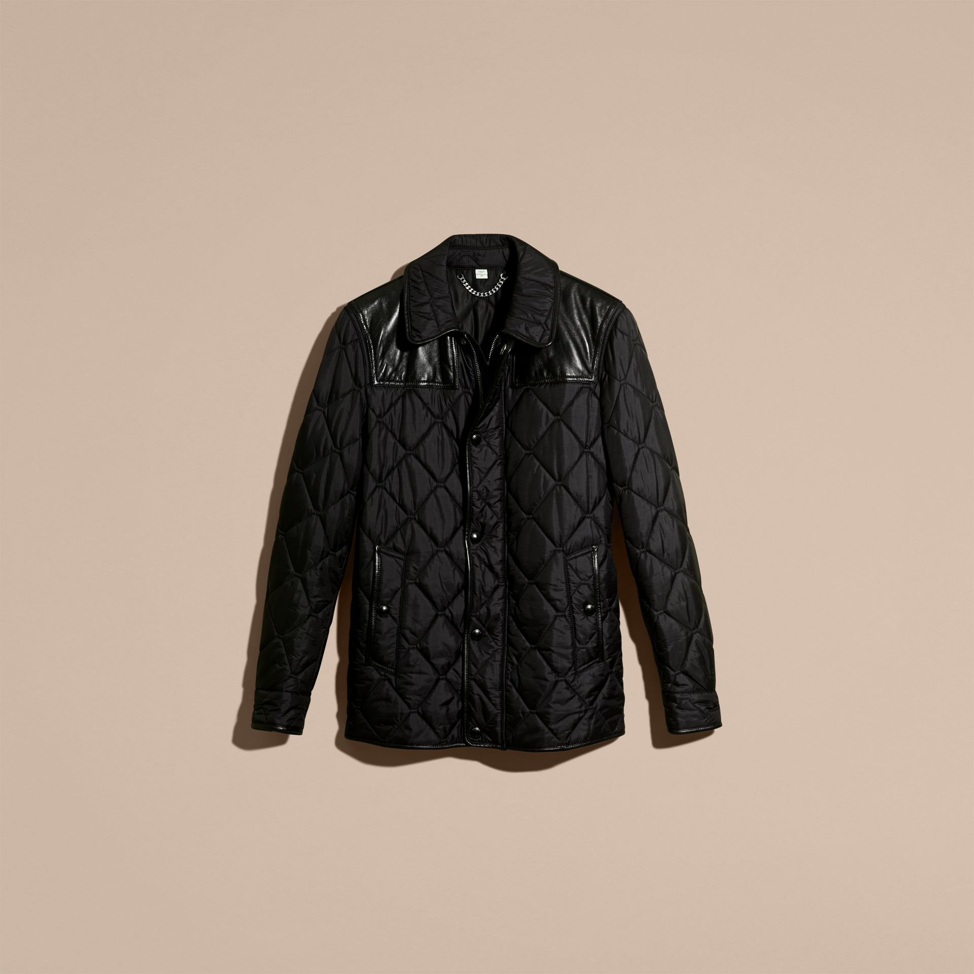 Black Lambskin Detail Field Jacket - gallery image 4