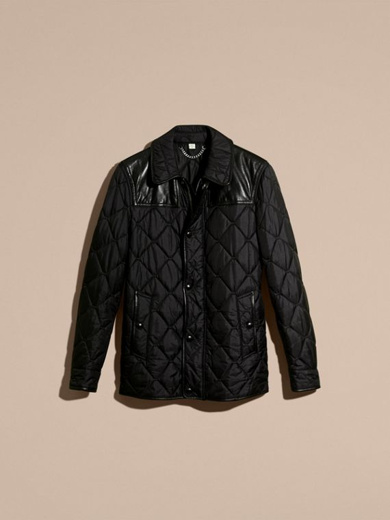 Black Lambskin Detail Field Jacket - cell image 3