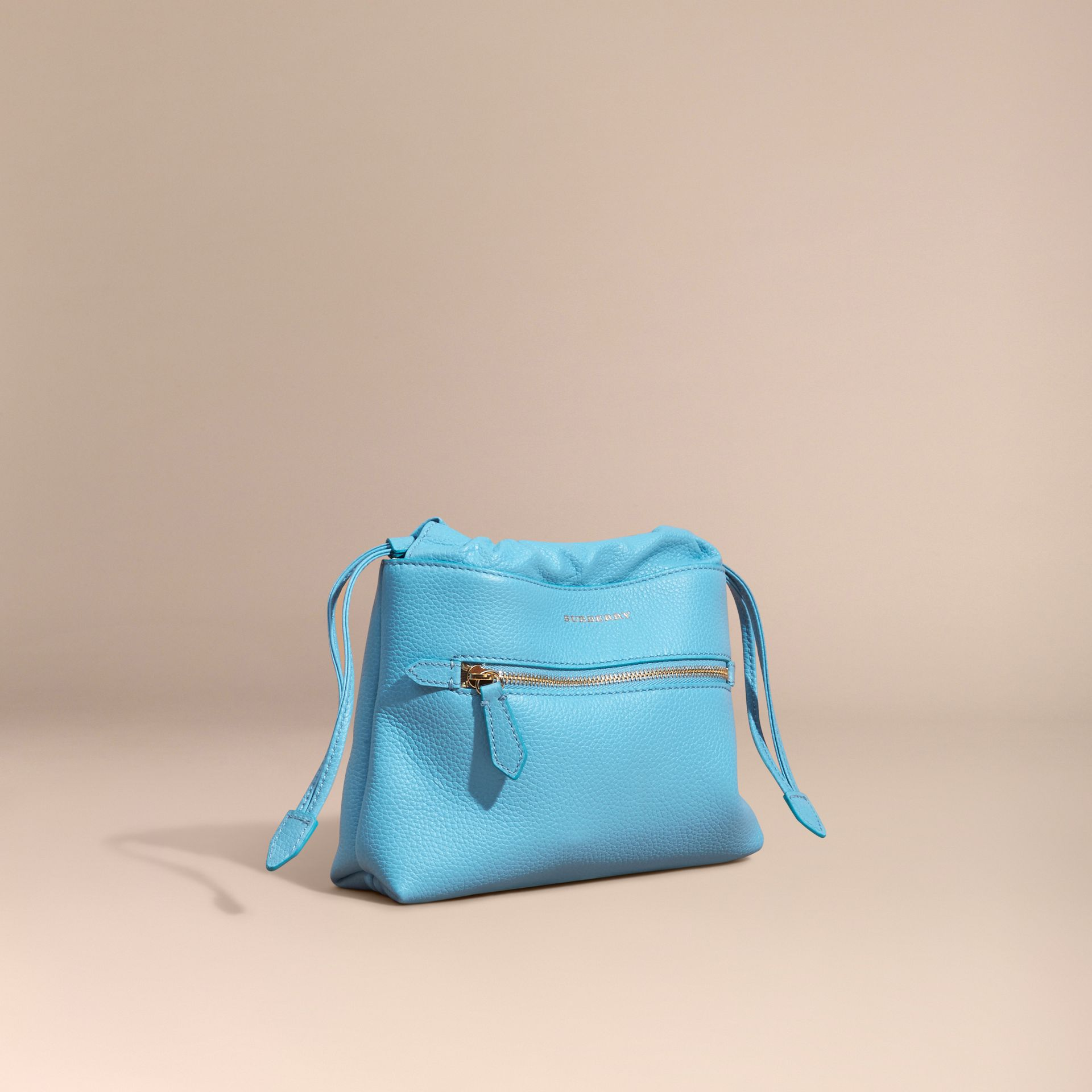 Bright mineral blue The Mini Crush in Grainy Leather Bright Mineral Blue - gallery image 1