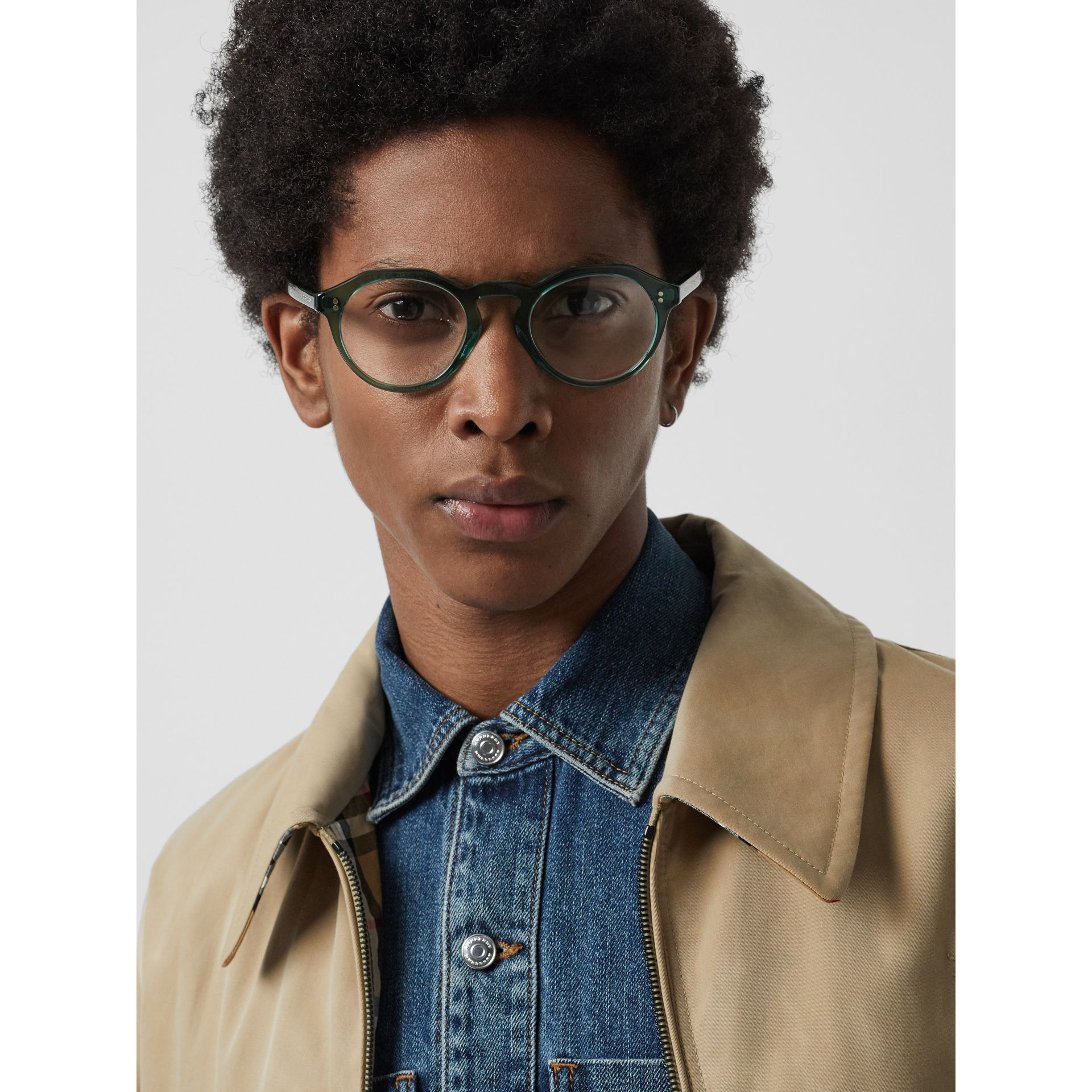 Keyhole Round Optical Frames in Green - Men | Burberry - gallery image 2