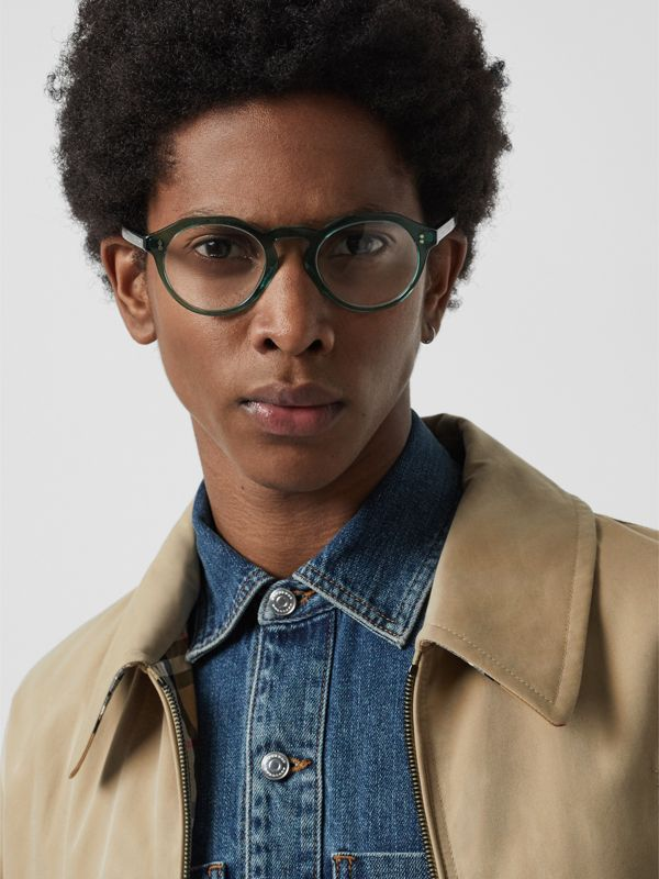 Keyhole Round Optical Frames in Green - Men | Burberry - cell image 2