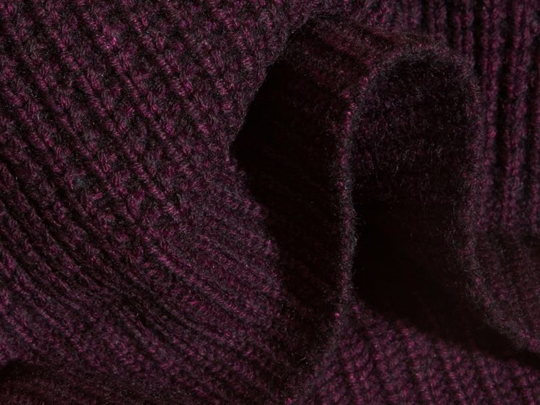 Dark elderberry Waffle Knit Wool Cashmere Beanie - cell image 1