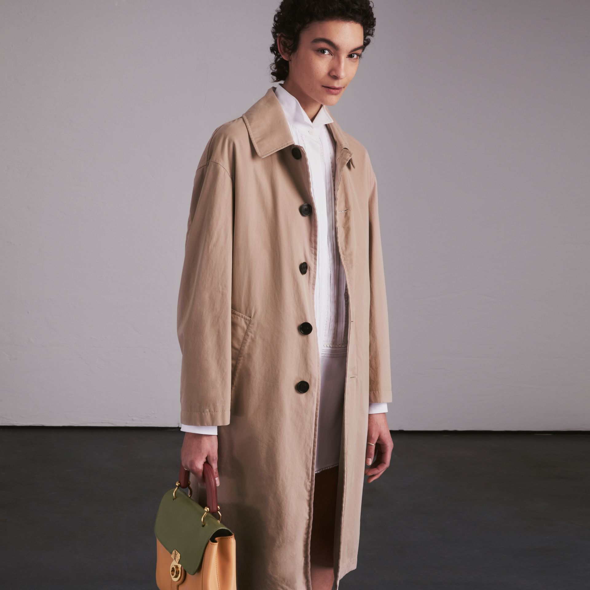 Unisex Tropical Gabardine Car Coat in Antique Taupe Pink - Men | Burberry - gallery image 3