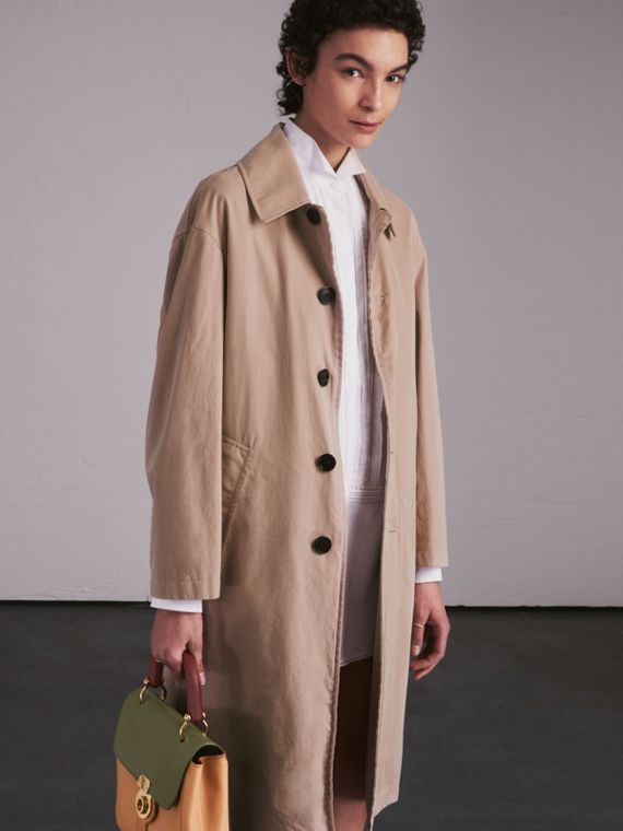 Unisex Tropical Gabardine Car Coat in Antique Taupe Pink - Men | Burberry - cell image 2
