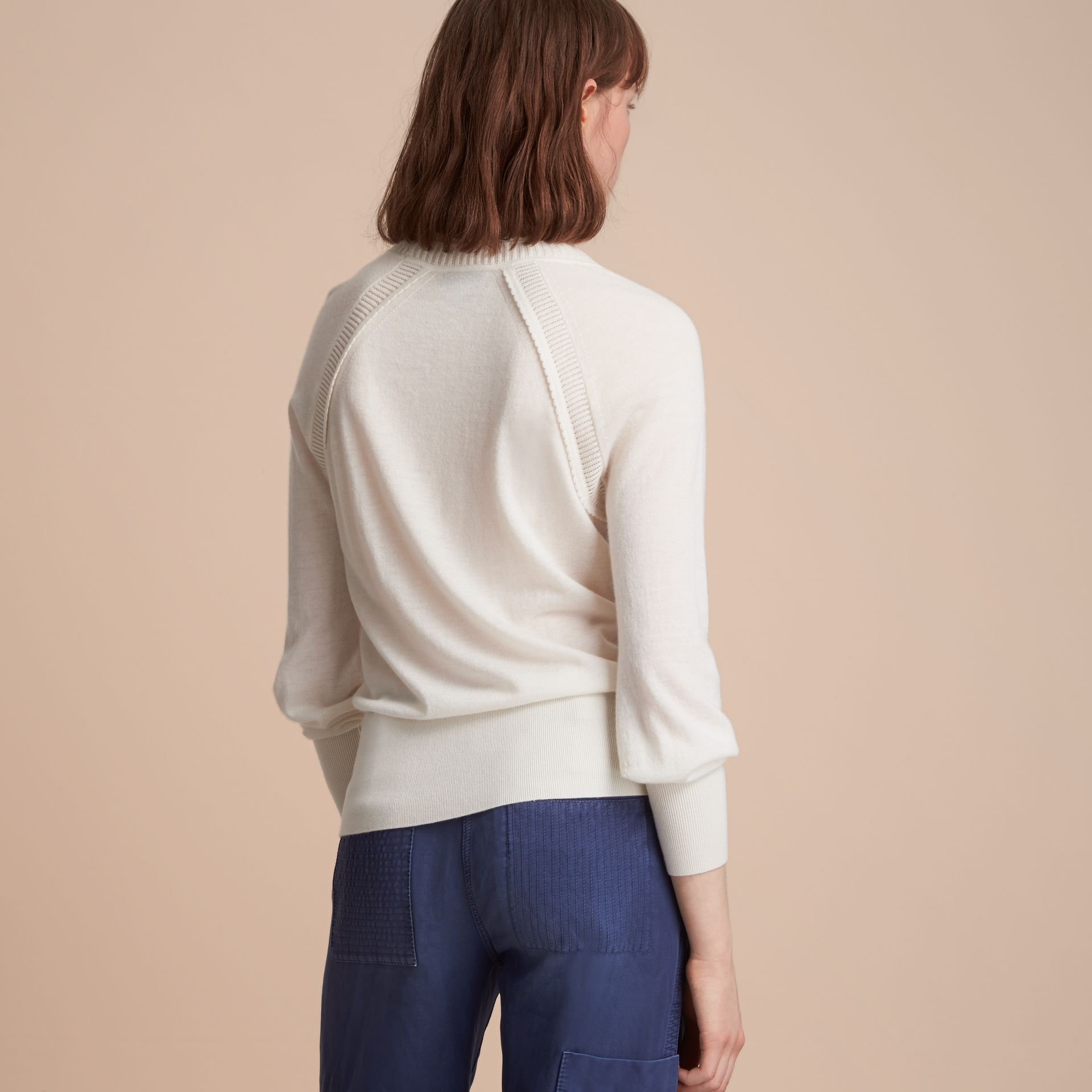 Open-knit Detail Cashmere Crew Neck Sweater Natural White - gallery image 3