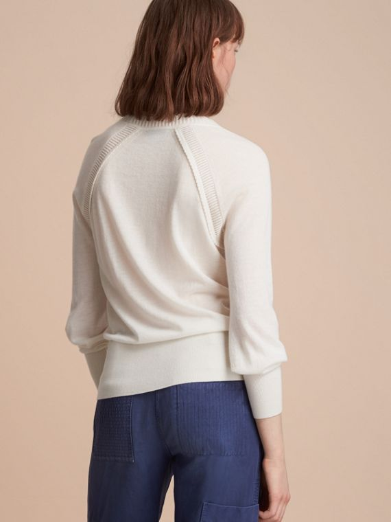 Open-knit Detail Cashmere Crew Neck Sweater Natural White - cell image 2