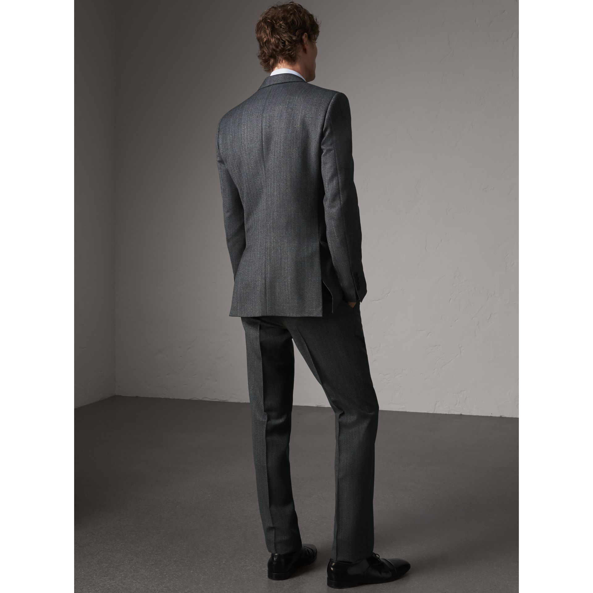 Modern Fit Wool Part-canvas Three-piece Suit in Charcoal - Men | Burberry Singapore - gallery image 3