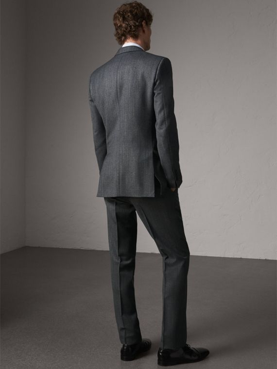 Modern Fit Wool Part-canvas Three-piece Suit in Charcoal - Men | Burberry Singapore - cell image 2