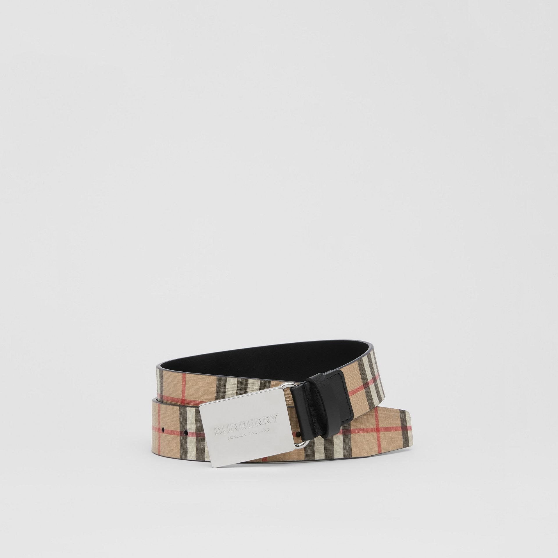 Plaque Buckle Vintage Check E-canvas Belt in Archive Beige - Men | Burberry Singapore - gallery image 0