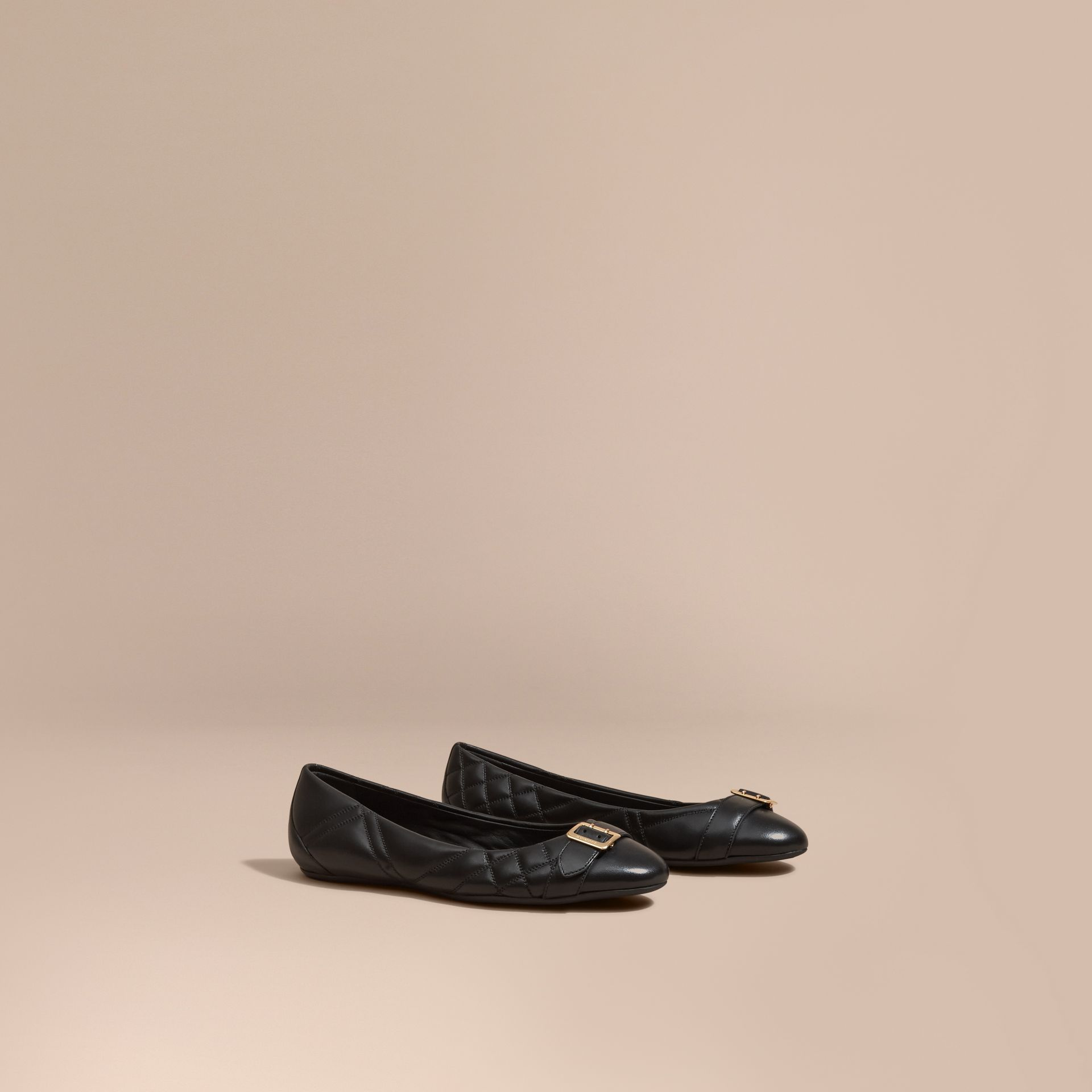 Black Buckle Detail Quilted Lambskin Ballerinas - gallery image 1