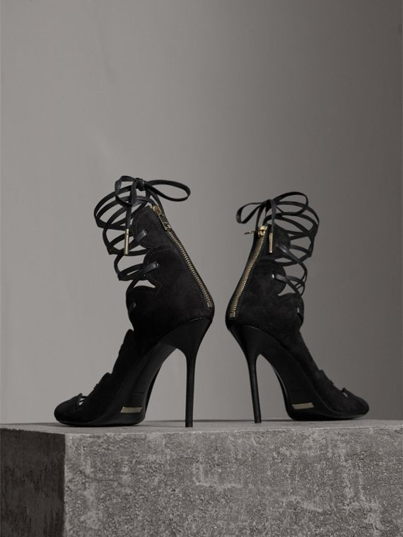 Scalloped Suede Lace-up Sandals in Black - Women | Burberry - cell image 2