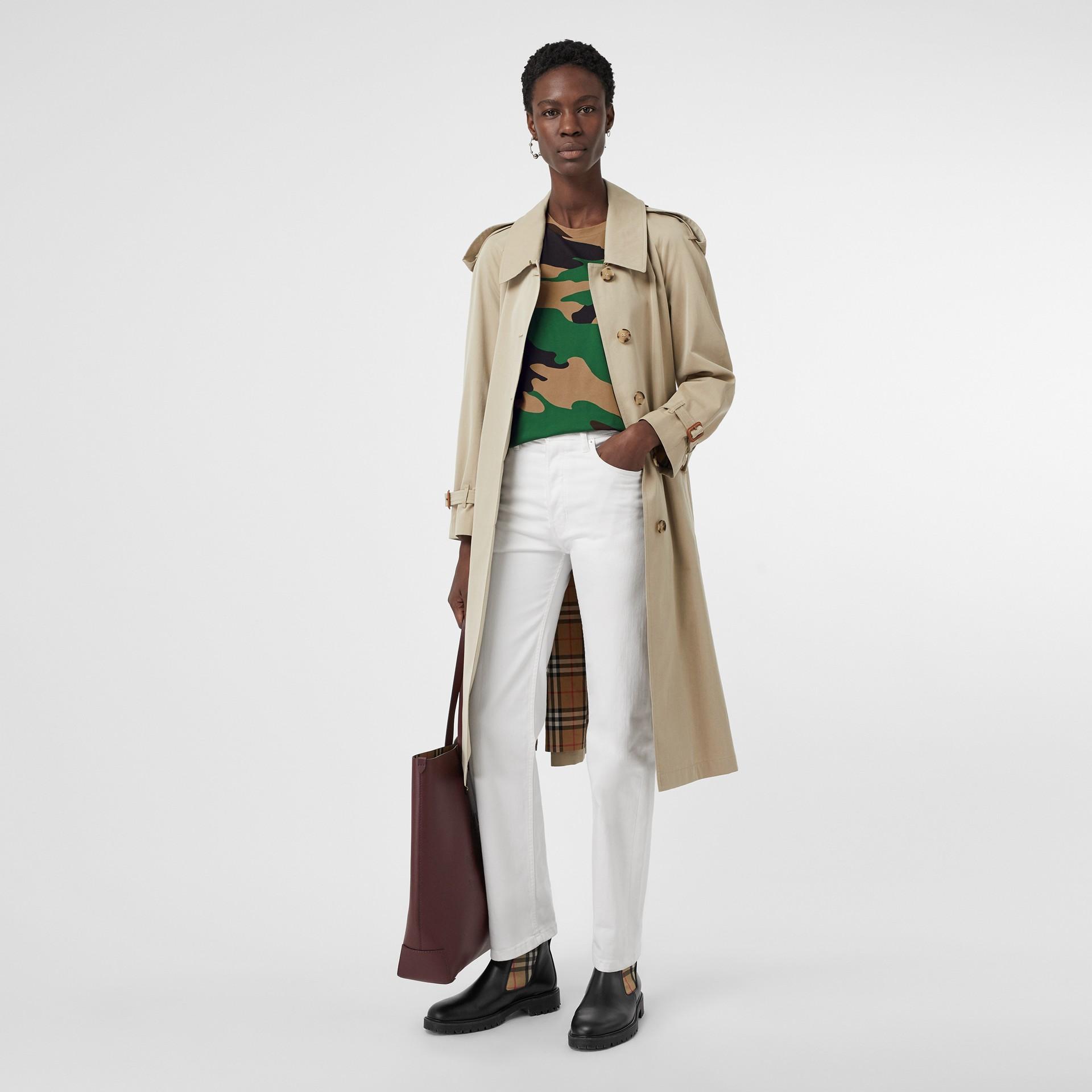 Camiseta camuflada de malha de algodão (Verde Floresta) - Mulheres | Burberry - galeria de imagens 4