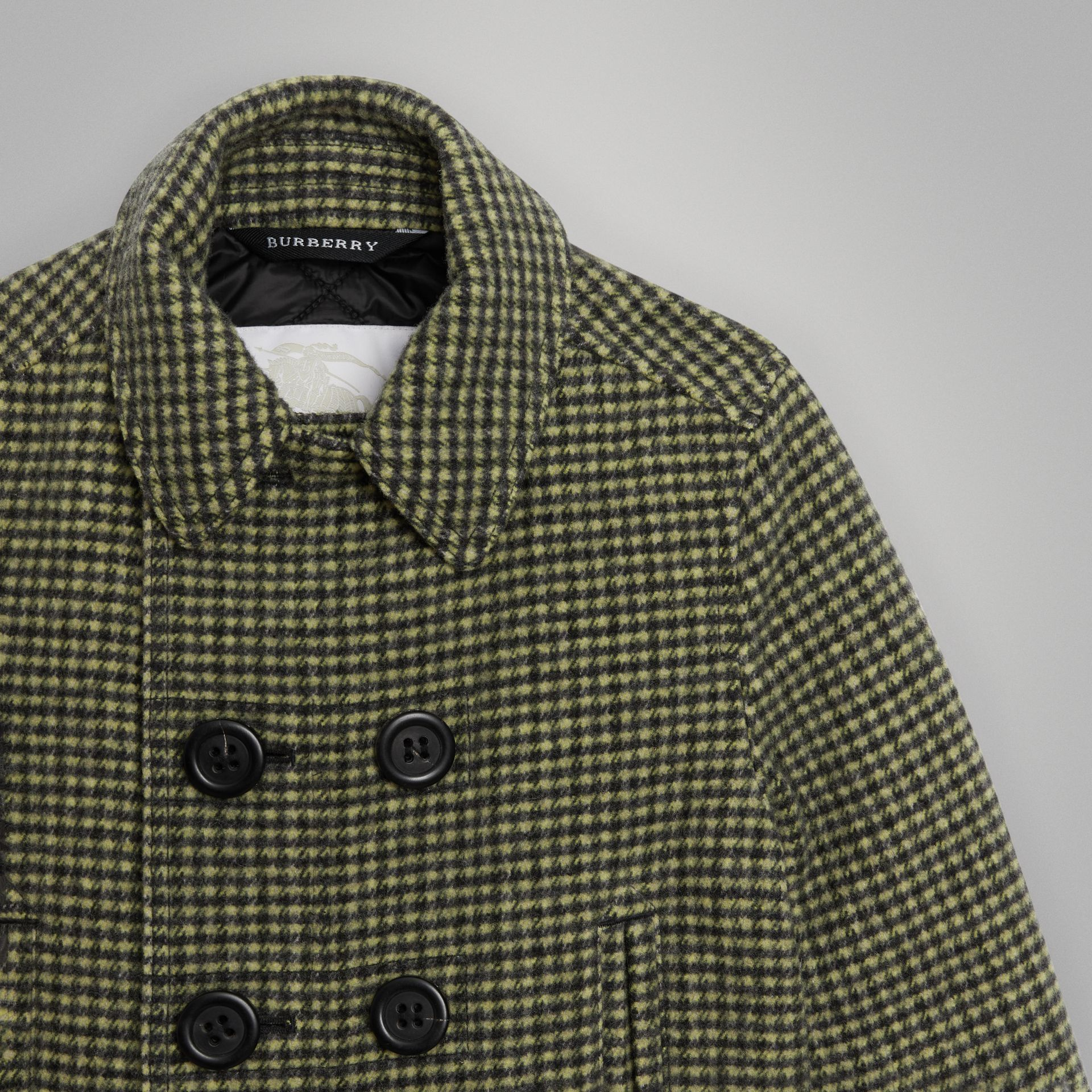 Check Wool Blend Tailored Coat in Grass Green | Burberry Hong Kong - gallery image 4