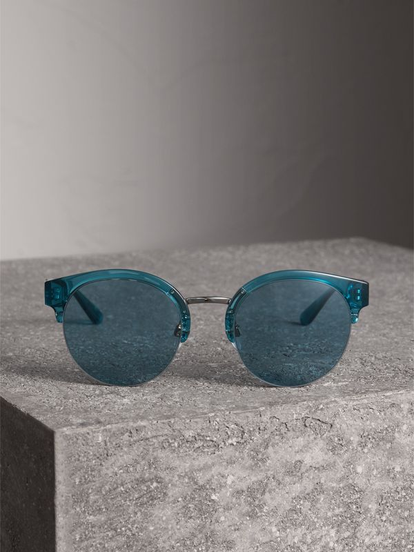 Check Detail Round Half-frame Sunglasses in Blue - Women | Burberry Singapore - cell image 3