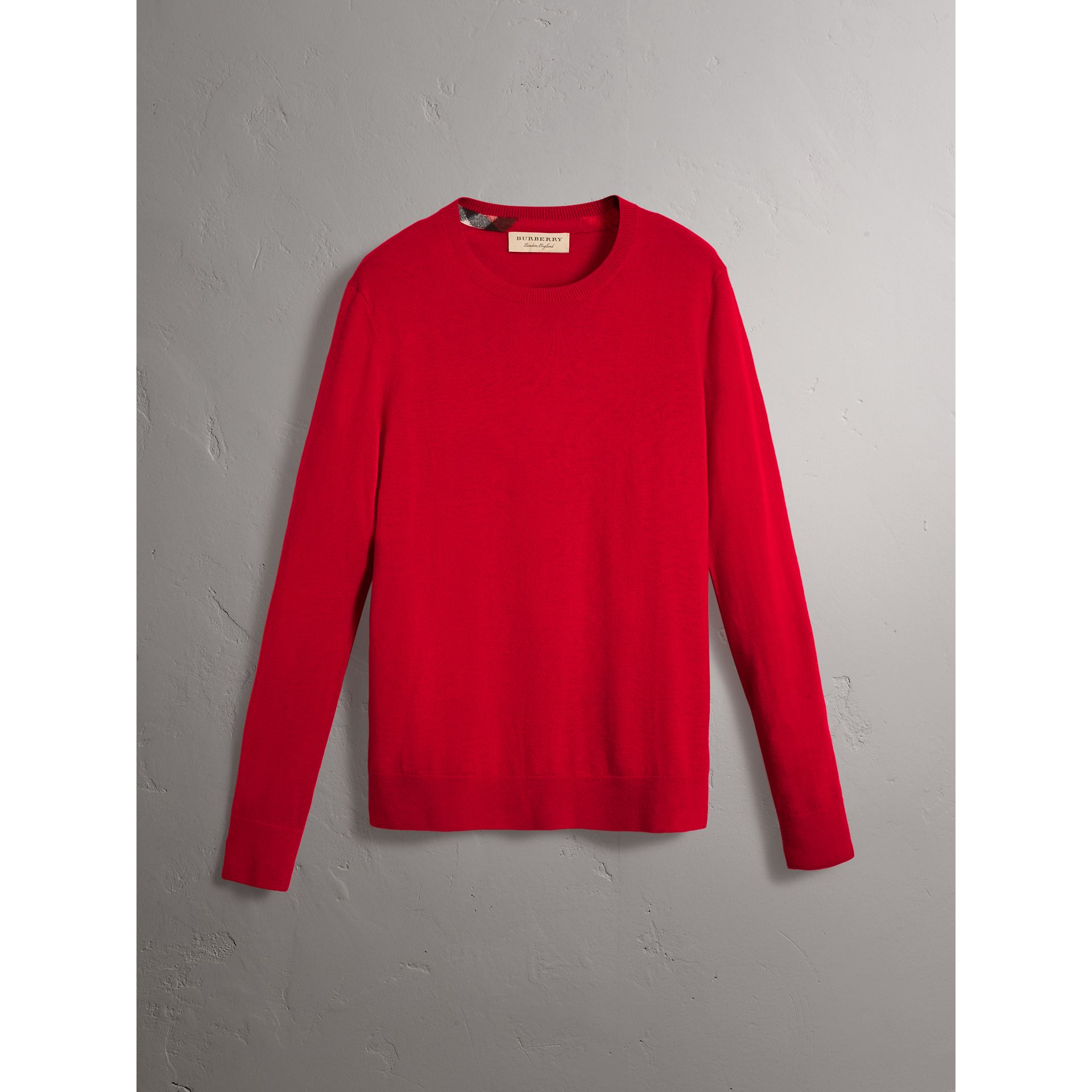 Check Jacquard Detail Cashmere Sweater in Parade Red - Men | Burberry United States - gallery image 3