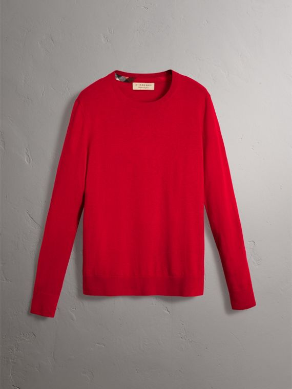 Check Jacquard Detail Cashmere Sweater in Parade Red - Men | Burberry United States - cell image 3