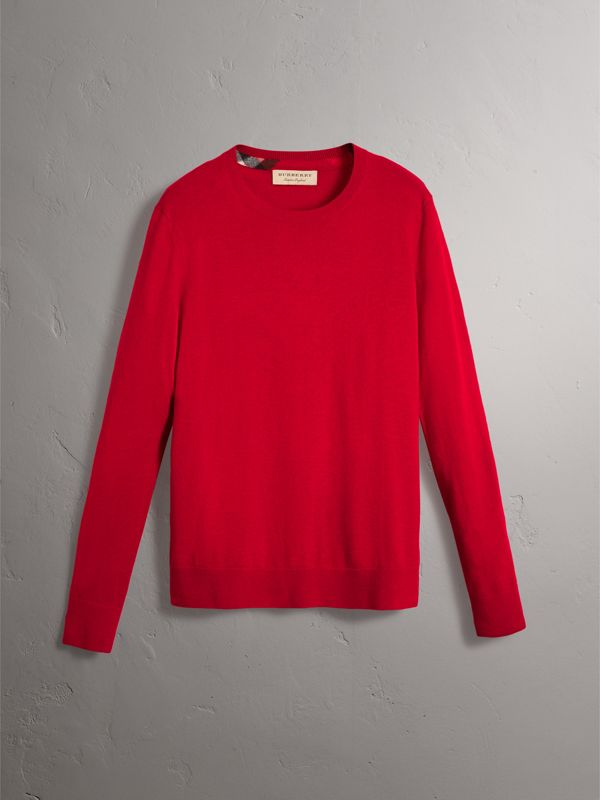 Check Jacquard Detail Cashmere Sweater in Parade Red - Men | Burberry Singapore - cell image 3