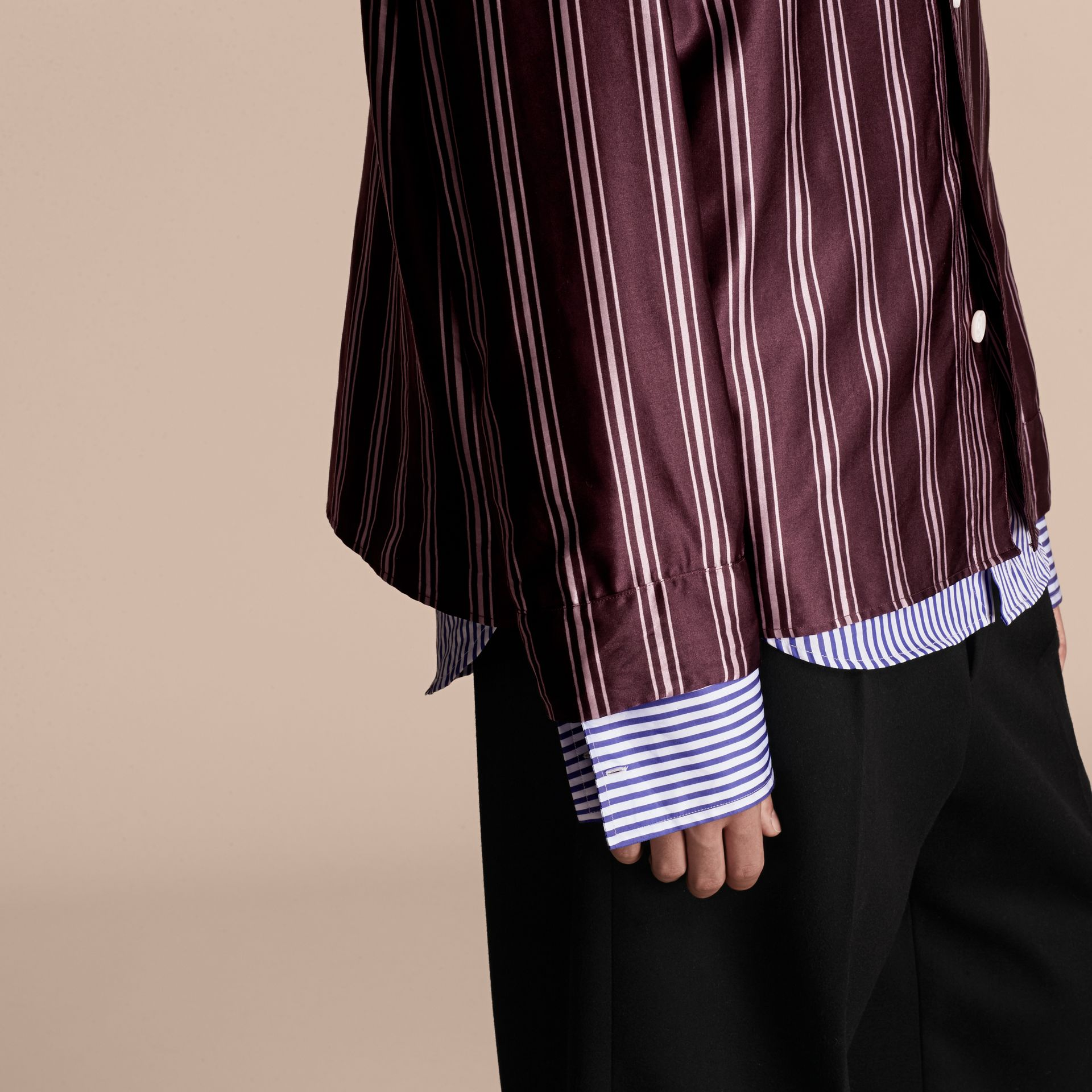 Crimson Striped Cotton Silk Collarless Shirt - gallery image 5