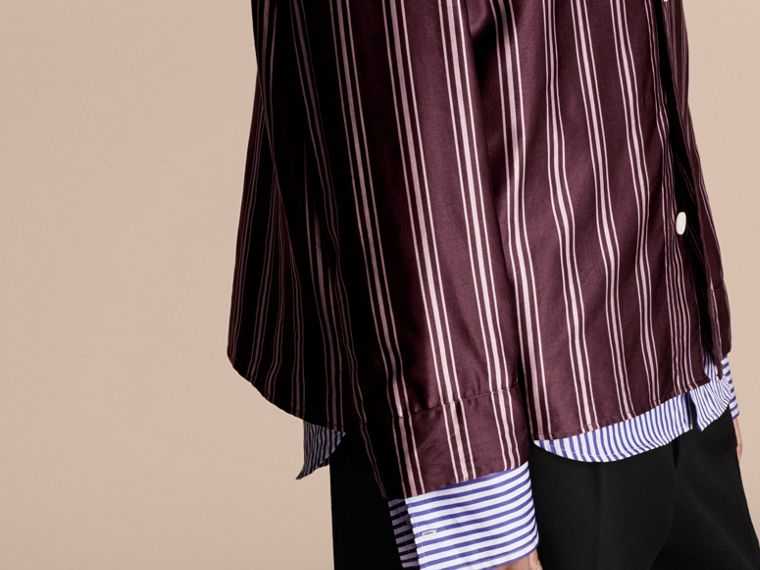 Crimson Striped Cotton Silk Collarless Shirt - cell image 4
