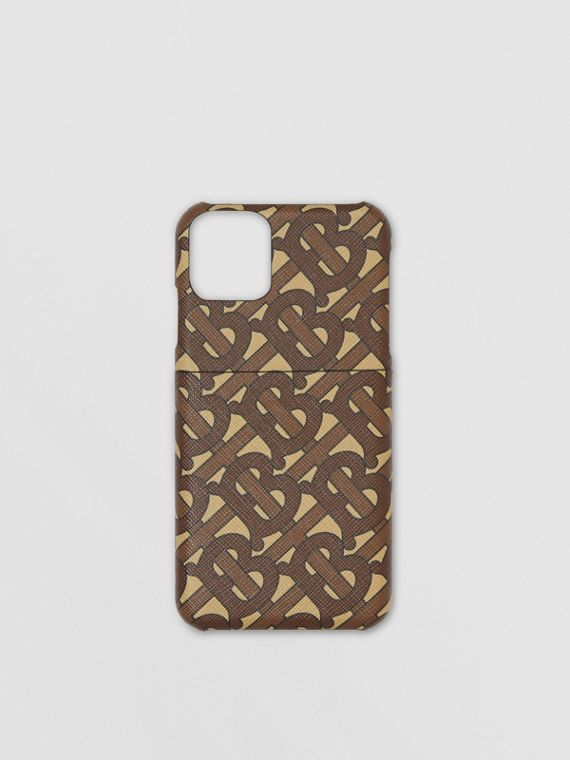 Monogram Print E-canvas iPhone 11 Pro Case in Bridle Brown