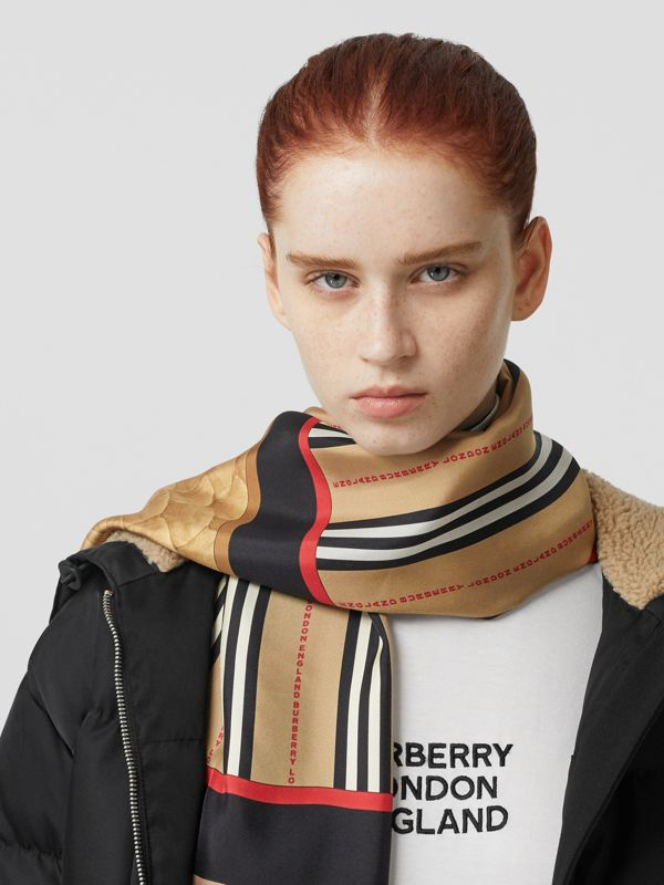 Montage Print Silk Scarf in Archive Beige | Burberry - cell image 2