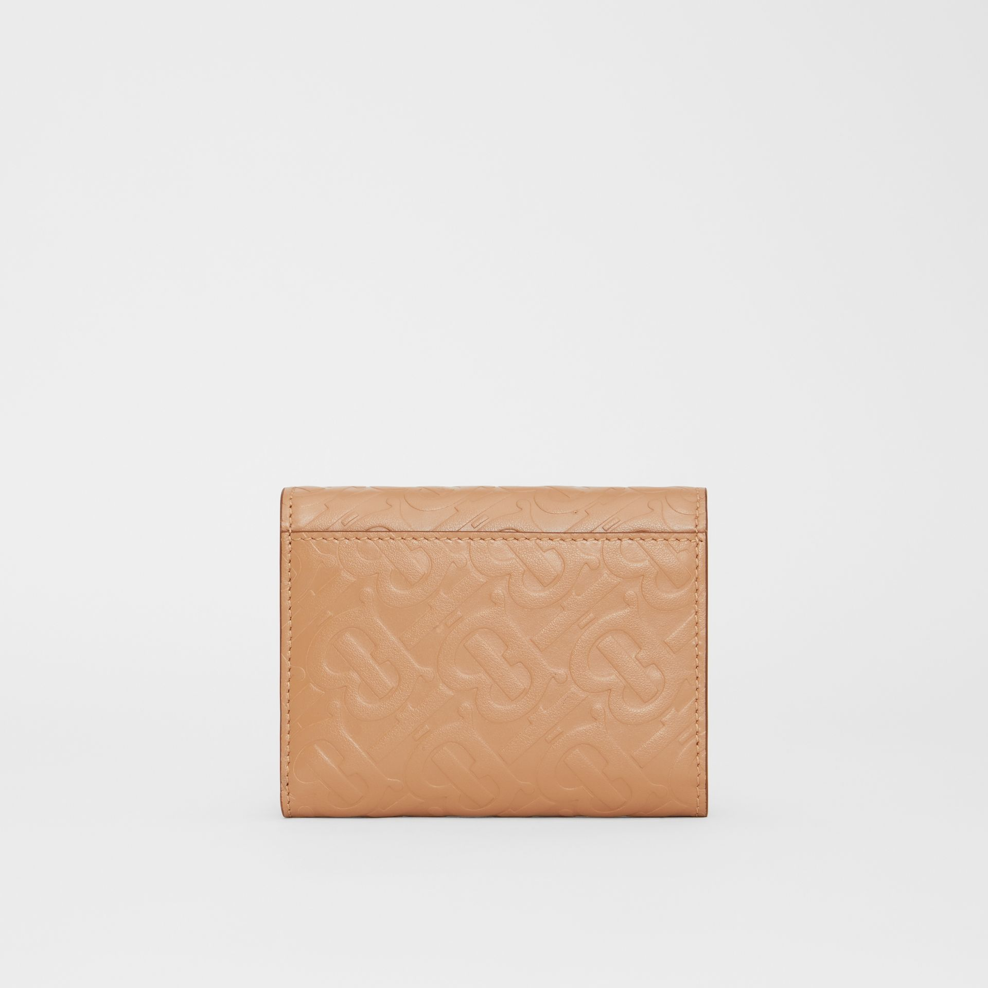 Small Monogram Leather Folding Wallet in Light Camel | Burberry - gallery image 4